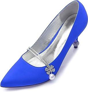 LIANYUNNEIYI Elegant Pearl Crystal Strap Pointed Toe Lady High Shoes Bridal Wedding Prom High Heels Inlaid Crystal