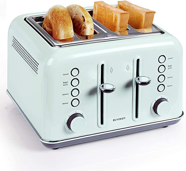 BUYDEEM DT 6B83G 4 Slice Toaster Extra Wide Slots Teal Stainless Steel With High Lift Lever Bagel And Muffin Function 7 Shade Settings In Vintage Turquoise Retro Pastel Green