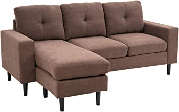 HOMCOM 3-Piece L-Shape Chaise Lounger Modern Couch Set with Thick Sponge Cushions, Modern Mid-Century Style, Brown