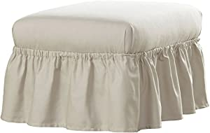 Serta   Relaxed Fit Durable Woven Linen Canvas Furniture Slipcover, Ottoman, Parchment