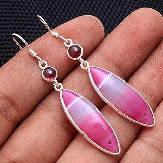 Pink Botswana Agate Garnet Gemstone 925 Sterling Silver Jewelry Dangle Earring #KD-316
