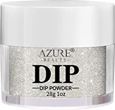 AZUREBEAUTY Dip Powder Glitter Silver Color(1oz) for French Nail Manicure Nail Art, Non-Tocix & Odor-Free, without UV LED Lamp Cured, Long lasting, Cruelty-Free