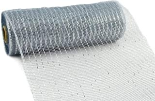 10 inch x 30 feet Deco Poly Mesh Ribbon - Metallic Silver: RE130126