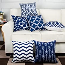 MODERN HOMES 100% Cotton Decorative Navy Blue Throw Pillow Covers 40x40 cm/Cushion Covers 16x16 inch (Set of 6, Navy)