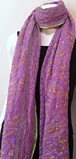 Chiffon Silk Lavender Light Purple Long Big Scarf, Neck Wear, Wrap, Intricate Delicate Embroidered Fabric, Sofa Throw