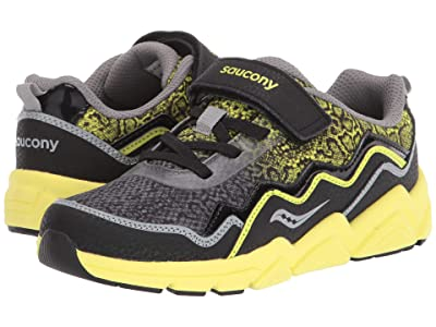 Saucony Kids S-Flash A/C 2.0 (Little Kid/Big Kid) (Black/Citron Leather/Mesh) Boys Shoes