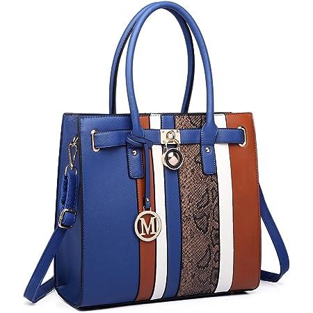 Miss Lulu Schultertasche Aktentasche Damen PU Leder Shopper Handtasche Umhängetasche Tote Bag 34 X 33 X 11 (LT6620 Blau)