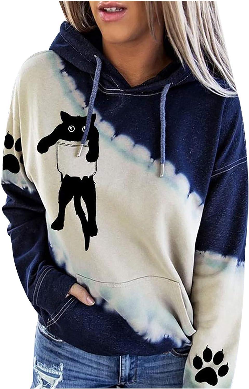 Eduavar Womens Girls Hoodie Cute Graphic Tie-Dye Printed Hooded Sweatshirts Long Sleeve Drawstring Loose Pullover Tops