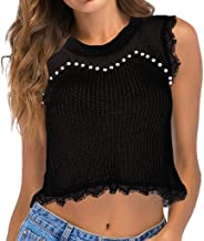 Iuhan Cropped Tank Tops for Women, Women's Knit Camisoles Vest Beaded Openwork Lace Sleeveless Sweater Top