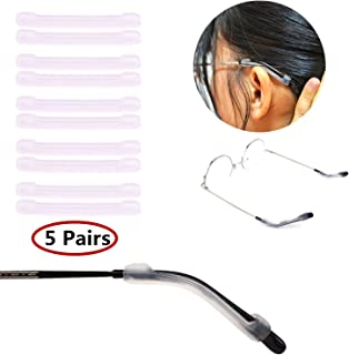 YR Soft Silicone Eyeglasses Temple Tips Sleeve Retainer,Anti-Slip Elastic Comfort Glasses Retainers For Spectacle Sunglasses Reading Glasses Eyewear,5 pairs -Clear