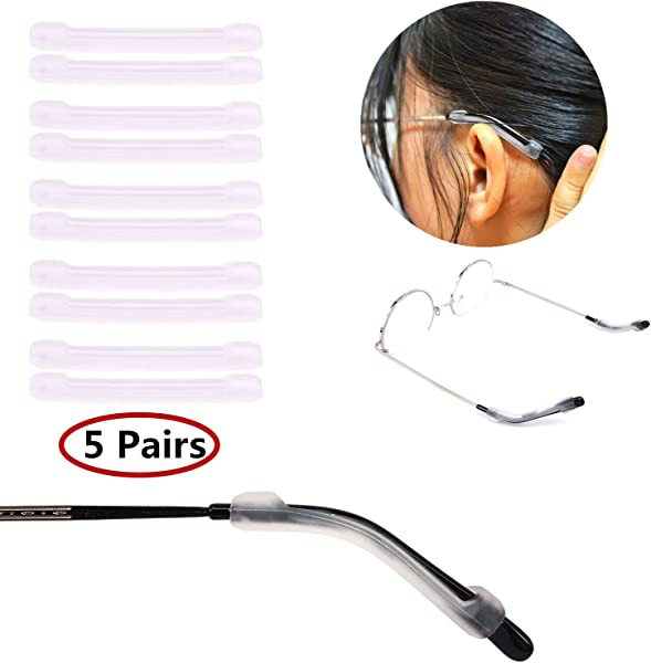 YR Soft Silicone Eyeglasses Temple Tips Sleeve Retainer Anti Slip Elastic Comfort Glasses Retainers For Spectacle Sunglasses Reading Glasses Eyewear 5 Pairs Clear
