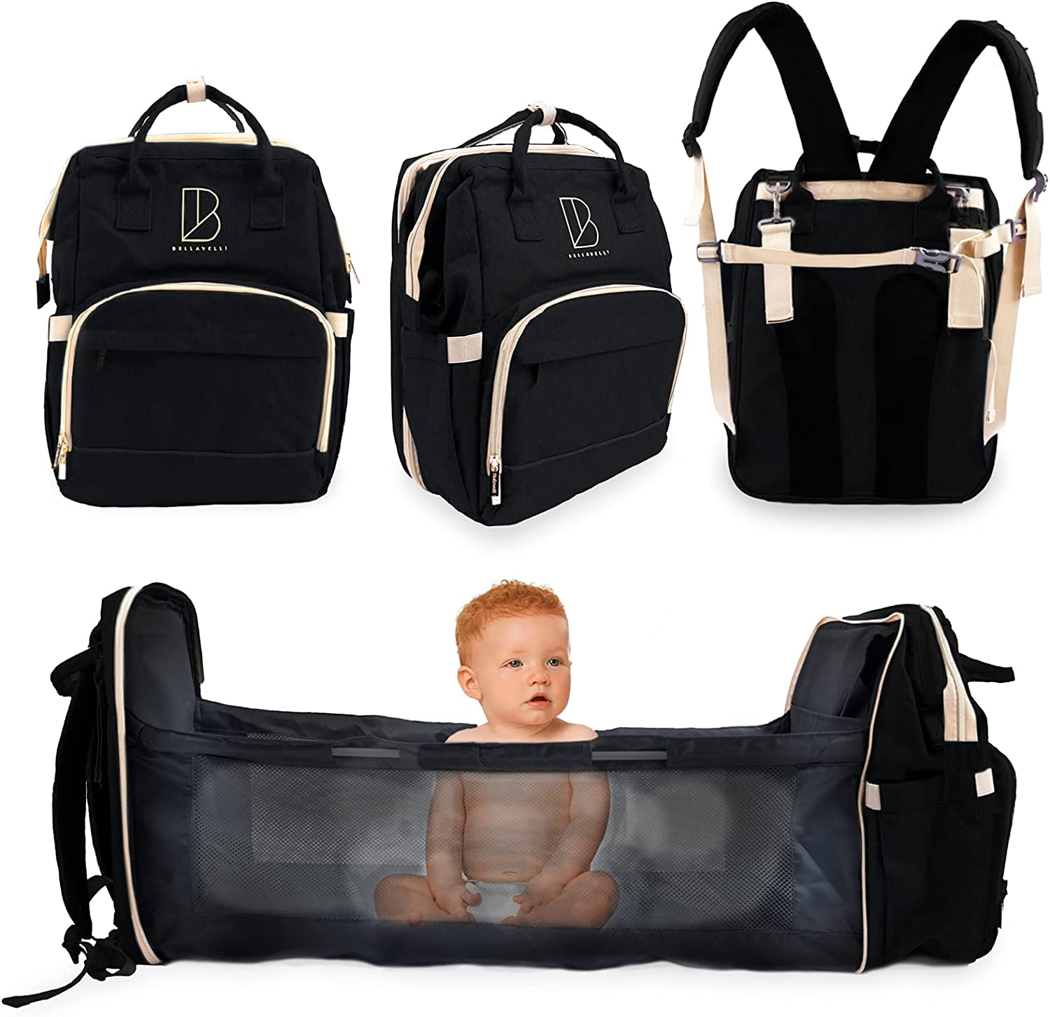 Diaper Bag Backpack with Changing Station | Bellavelli | USB Quick Charge for Men, Women, Unisex | Waterproof | Thermal Insulated | Travel Bassinet Baby Changing Station (Black)