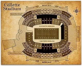 Gillette Stadium Football Seating Chart - 11x14 Unframed Art Print - Great Sports Bar Decor and Gift Under $15 for Football Fans