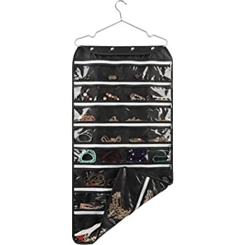 SPIKG 56 Pockets Dual Sided Jewelry Hanging Organizer Oxford Storage Bag with Zipper Hanger (Black)