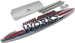 Chrome John Cooper Works Metal Front Grill Bonnet Badge Emblem For Cooper S Size 120mm x 20mm