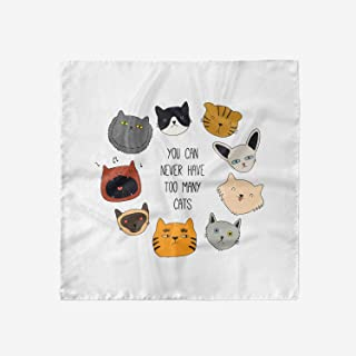Ambesonne Cats Head Scarf, Wording Love Whiskers Happy, Hair Wrap