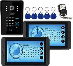 Wachtwoord Videodeurbel, Intercom, Bedraad 7 Inch Videodeurtelefoonsysteem, 2 Touchscreenmonitoren + IR-Nachtzichtcamera +...
