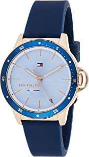 Women's Stainless Steel Quartz Watch with Silicone Strap, Blue, 17 (Model: 1782027)