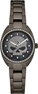 Harley-Davidson Womens Willie G Skull with Crystal Bezel Stainless Steel Watch