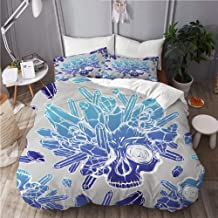 Mokale Duvet Cover King Size,Vector Illustration Skull Crystals Mysticism Tattoos,3 Piece Bedding Set with 2 Pillowcases(D...