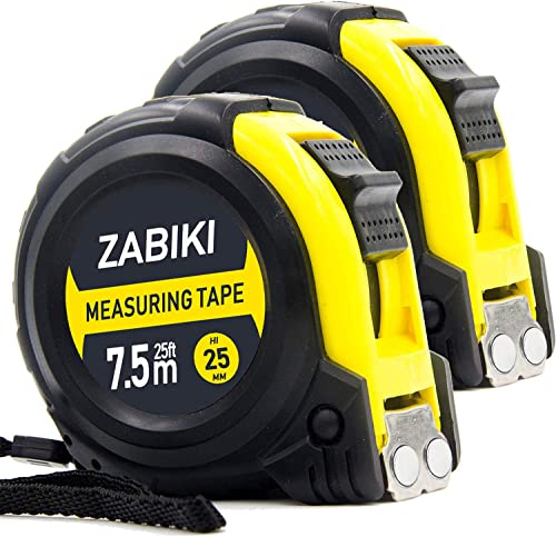 Zabiki Measuring Tape Measure, 25 Ft Easy to Read Decimal Retractable Dual Side Ruler with Metric and Inches, with Ma...
