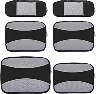 6 Set Packing Cubes for Travel,ZOMAKE Packing Organizers Bag for Carry on Luggage Neutral Black