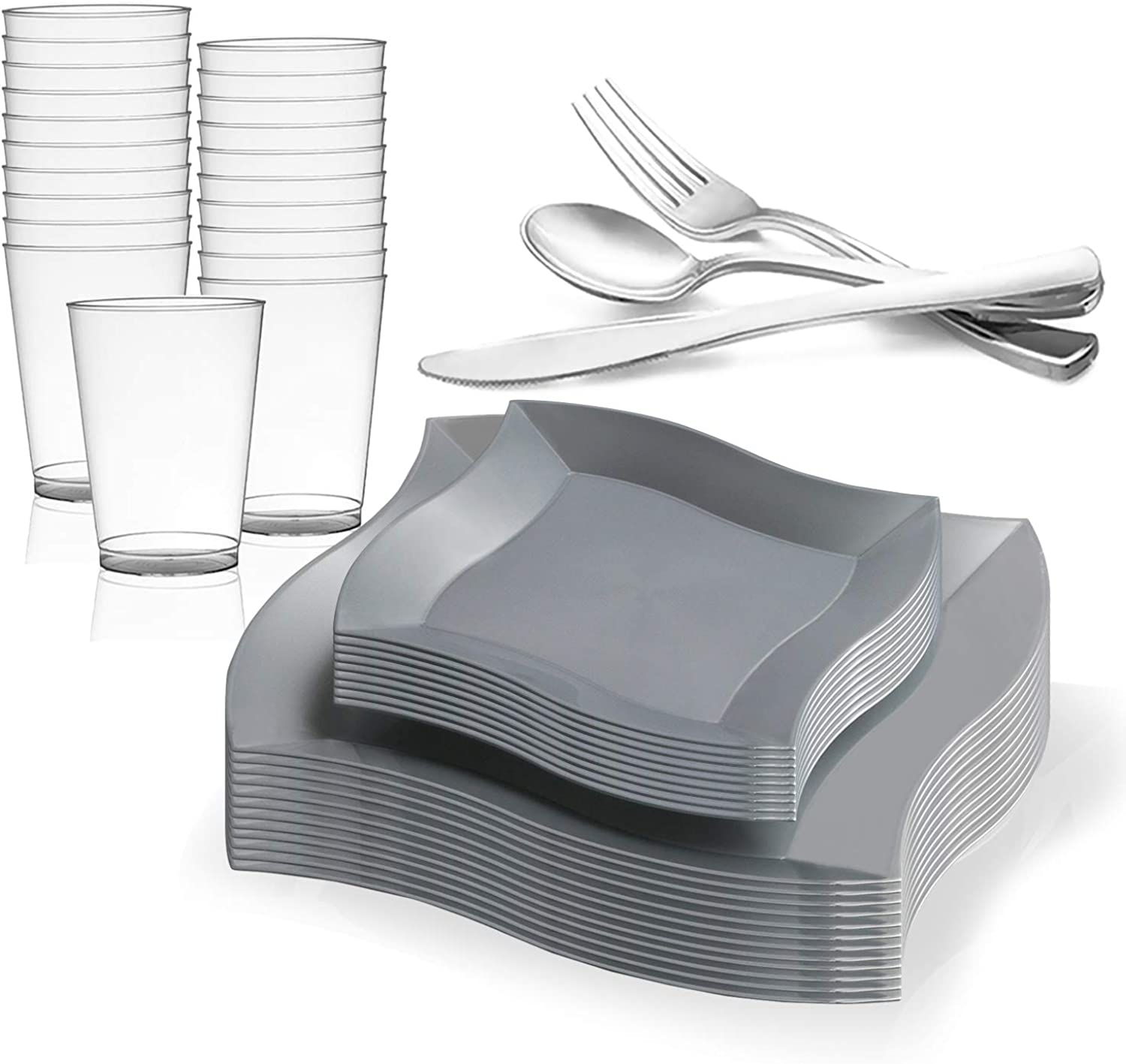 Elegant Disposable Plastic Dinnerware Set for 60 Guests - Includes Fancy Wave Silver Dinner Plates, Dessert Salad Plates, Silverware Silver Cutlery & Cups For Wedding, Birthday Party & Other Occasions