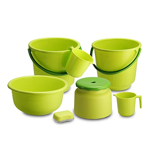 All Time 7 Piece Plastic Bathroom Set, Green