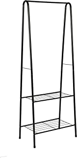 "MULSH Clothing Garment Rack Coat Organizer Storage Shelving Unit Entryway Storage Shelf 2-Tier Metal Shelf in Black, 24.0""Wx15.2""Dx63""H"