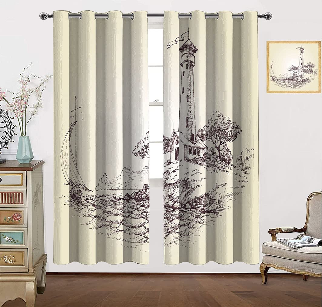 Sea Decor Curtains Lighthouse Over Cliff Oc New arrival The in Sailboat Special Campaign and