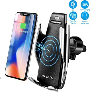 MixBirly Compatible with Wireless Smart Sensor Car Charger Mount IR Intelligent Sensing Auto Clamping 10 W Fast Air Vent Holder for iPhone Xs XR XS Max X 8 8+ for Galaxy S9/9+ S8/8+ S7/7