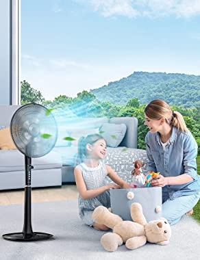 Pedestal Fan, Oscillating Standing with Remote, 18-Hour Timer 3 Wind Modes 12 Speed Levels Adjustable Height Electric Cooling