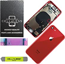 CELL4LESS Back Housing Complete Assembly Metal MidFrame w/Back Glass - Wireless Charging pad - Sim Card Tray and Camera Frame and Lens for iPhone 8 (Red)