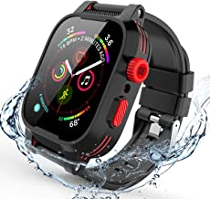 Apple Watch Series 4/5 Case 44mm, iWatch 4 44mm Waterproof Case with Screen Protector 44mm Case Shockproof Full Body Rugged 2 TPU Soft Band with Case for Apple Watch Series 5/4 44mm (Black&Red)