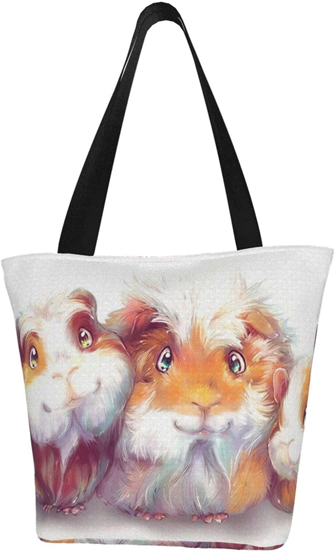 Guinea Pig Cute Art Smile Themed Printed Women Canvas Handbag Zipper Shoulder Bag Work Booksbag Tote Purse Leisure Hobo Bag For Shopping