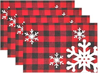 Christmas Red Plaid Snow Snowflake Placemats Set of 6 Table Mat, Red Black Lattice Texture Table mats Placemats Heat-resistant Stain Resistant Washable for Kitchen Dining Decoration 12