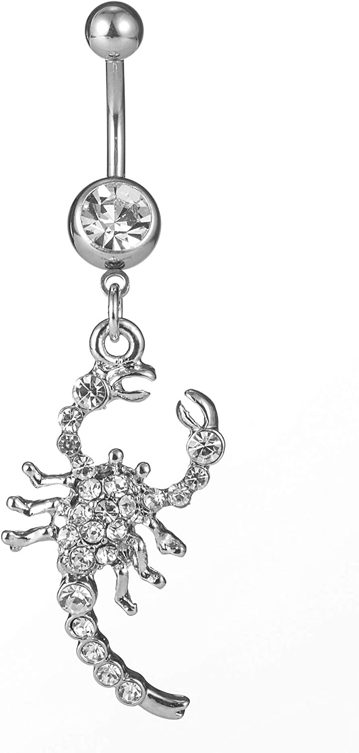 3Pcs 14G Dangle Belly Button Rings Scorpion Navel Ring 316L Surgical Steel CZ Body Piercing Jewelry