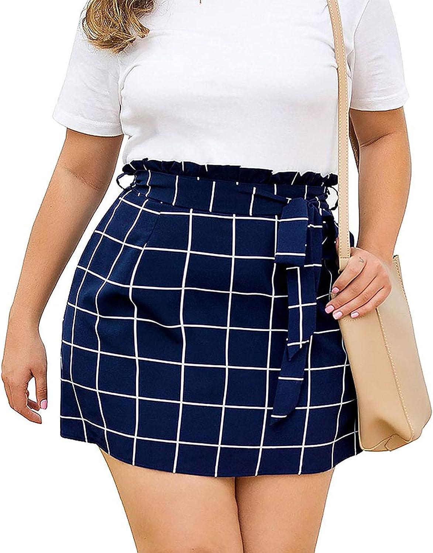 LccSee Plaid Skirt for Women Plus Size Mini Short Skirt Casual Flared Skater Skirt with Pockets