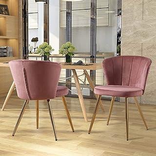 Zoyo Juego de 2 sillas de comedor de terciopelo rosa tapizadas de cocina patas de metal para restaurantes en el hogar (rosa, 2)