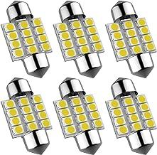 DE3175 Led Bulb, 31mm 1.22in 3175 Festoon Led Bulb, Super bright white DE3021 DE3022 Led Bulb Fit for Interior Map Door Dome lights, Pack of 6pcs