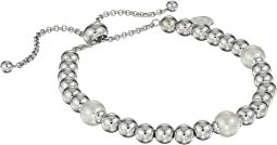 8mm Round Pearls on Steel Beaded Bracelet 7-11.5""