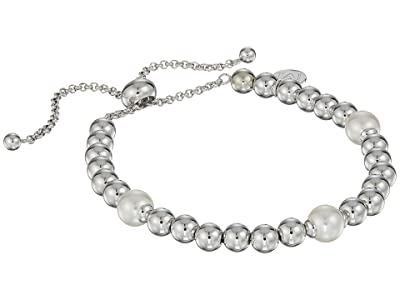 Majorica 8mm Round Pearls on Steel Beaded Bracelet 7-11.5 (White) Bracelet
