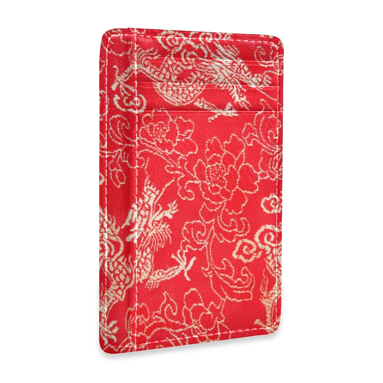 Red Traditonal Dragon Front Pocket Minimalist Leather Slim Wallet RFID Blocking Medium Size(0mb4c)