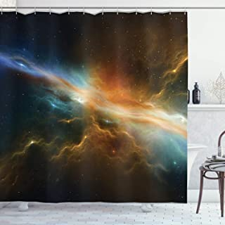 """Ambesonne Outer Space Shower Curtain, Astronomy Celestial Meteorite Supernova Dark Mysterious Space Picture, Cloth Fabric Bathroom Decor Set with Hooks, 70"""" Long, Marigold Blue"""