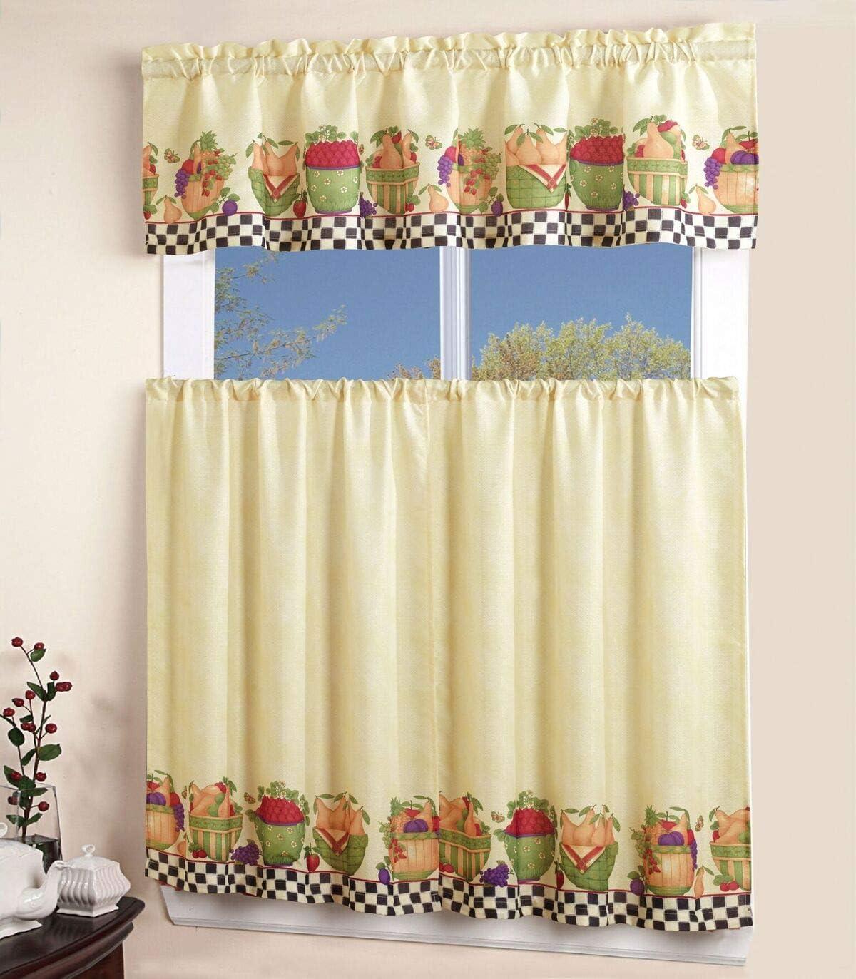 Amazon Com Bedding Haus Themed Grommet Kitchen Curtains And Valances Set 3 Piece Set Fruit Home Kitchen