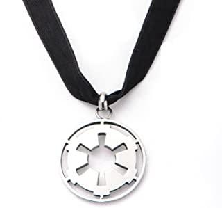 Star Wars Stainless Steel Small Cut Out Galactic Empire Symbol with Velvet Choker Necklace