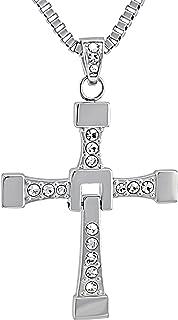 Hanessa, collana da uomo in 100% puro acciaio inossidabile, con ciondolo a forma di croce in argento Fast and Furious Vin ...