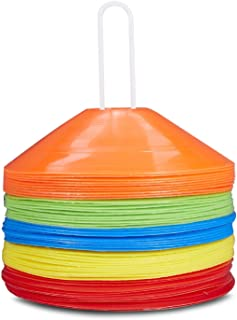 Pro Disc Cones Agility Soccer Cones Disc Cone Sets(Set of 50) with Carry Bag and Holder for Training,Football, Kids,Sports,Field Cone Markers