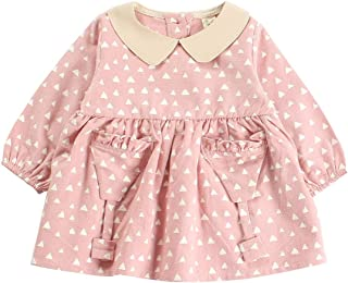 Fairy-Baby Toddler Girls Autumn and Spring Skirt Geometric Triangle Cartoon Pattern Design Pleated Skirt Long Sleeve Cute Girls Princess Dress (Color : Pink, Size : 90)