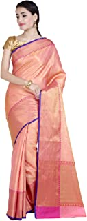 Women's Cotton Silk Blend Indian Ethnic Banarasi Saree with Unstitched Blousepiece(1115)